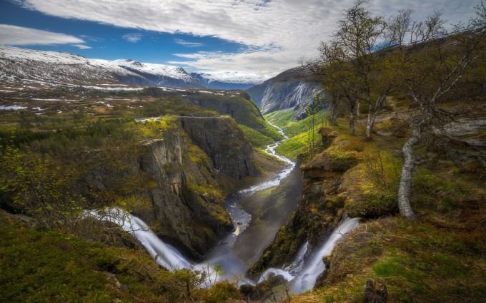 nature-landscape-waterfall-canyon-river-norway-trees-mountain-clouds-snowy-peak-shrubs-1920x1200.jpg